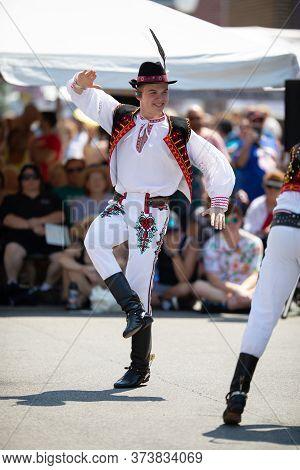 Whiting, Indiana, Usa - July 27, 2019: Pierogi Fest, Men Wearing Traditional Slovakian Clothing Perf