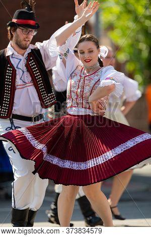 Whiting, Indiana, Usa - July 27, 2019: Pierogi Fest, A Couple Of Slovakian  Wearing Traditional Clot