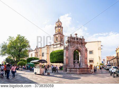 Santiago De Queretaro, Queretaro, Mexico - November 24, 2019: View Down Francisco I Madero, With Peo