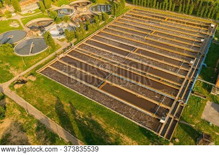 Tanks Or Pools For Sedimentation And Filtration Of Wastewater At Wastewater Treatment Plant, Aerial