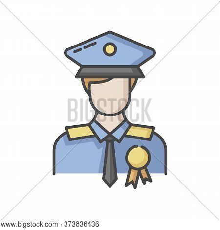 Police Officer Rgb Color Icon. Military Patrol. Male Guard. Security Man In Uniform. Deputy Officer.