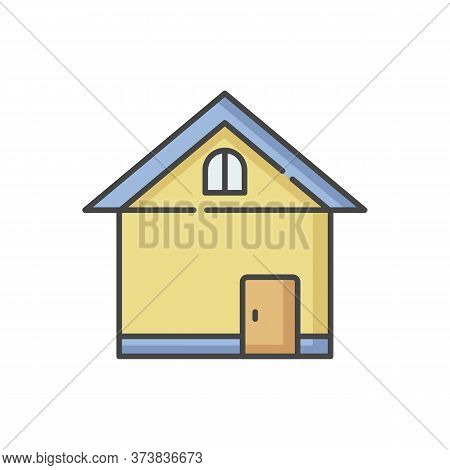 Home Rgb Color Icon. House Front. Small Business. Store Exterior. Residential Construction. Real Est