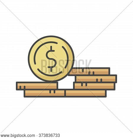 Stack Of Coins Rgb Color Icon. Fortune And Wealth. Growth In Wage. Revenue From Business. Financial