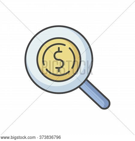 Look For Money Rgb Color Icon. Search For Investment. Magnifying Glass With Dollar Sign. Monetary Ga