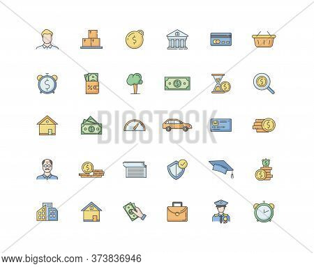 Financial Aid Rgb Color Icons Set. Business Investment. Financial Operation. Monetary Gain. Deposit