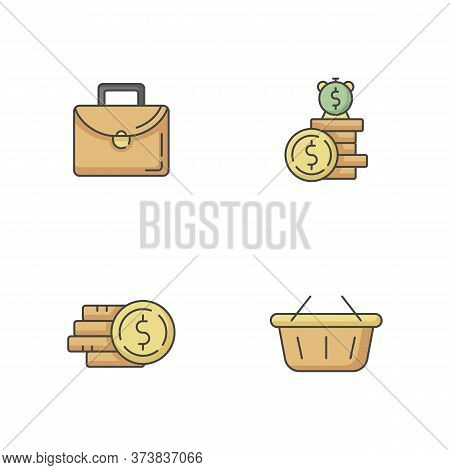 Money Investment Rgb Color Icons Set. Work Briefcase. Pile Of Coins. Stack Of Cash. Deposit Payout.