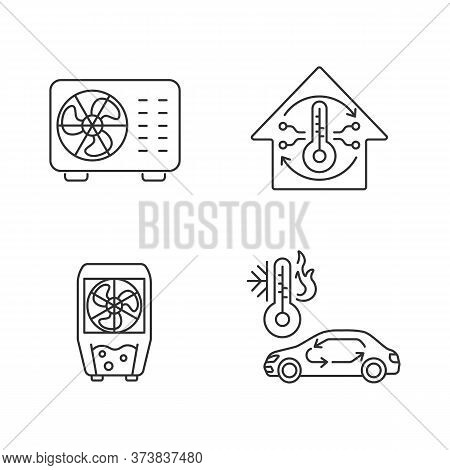 Climate Control Linear Icons Set. Split Air Conditioner, Evaporative Cooler And Car Ventilation Usto