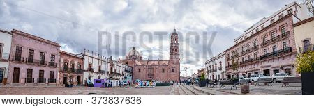 Zacatecas, Zacatecas, Mexico - November 22, 2019: The Cathedral With The State Government Palace, Al