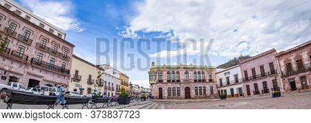 Zacatecas, Zacatecas, Mexico - November 22, 2019: View Of The Colonial Buildings Around The Plaza De