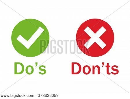 Dos And Donts Colored Information Signs. Question Answer Concept, Checklist Symbol Review Or Evaluat