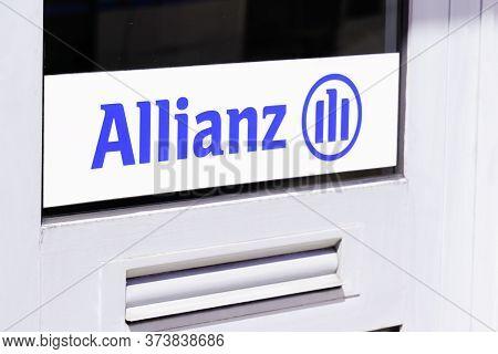 Bordeaux , Aquitaine / France - 05 05 2020 : Allianz Logo Insurance Sign Store Office Shop Brand Fin