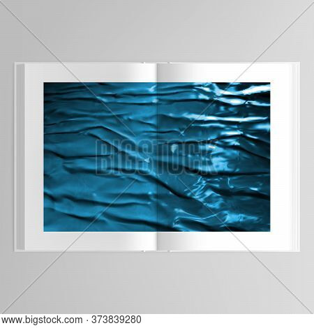 3d Realistic Vector Layout Of Cover Mockup Design Template In A4 Format With Blue Plastic Film For B