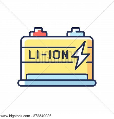 Lithium Ion Battery Rgb Color Icon. Modern Electric Equipment. Electric Vehicle Motor. Contemporary