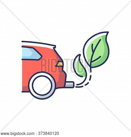 Zero Tailpipe Emissions Rgb Color Icon. Eco Friendly Vehicle Using Biofuel. Environmentally Safe Tra