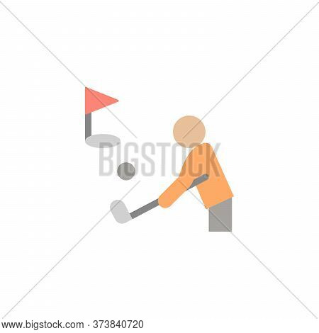 Golf Player, Flag Colored Icon. Simple Colored Element Illustration. Golf Player, Flag Concept Symbo
