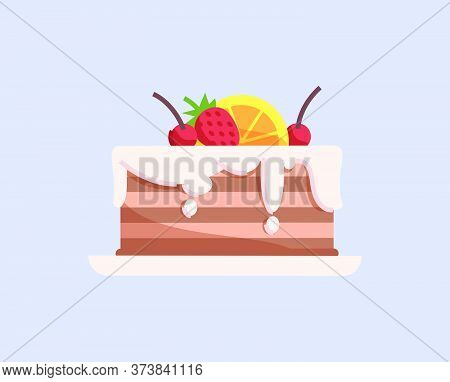 Delicious Glazed Cake With Fruits Semi Flat Rgb Color Vector Illustration. Tasty Dessert, Pie Wirh B