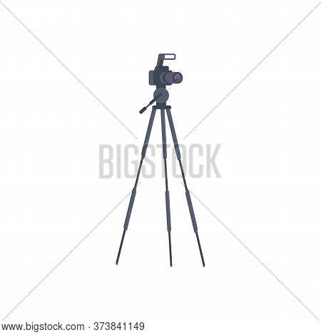 Camera On Tripod Semi Flat Rgb Color Vector Illustration. Dslr Photocamera Isolated Cartoon Object O