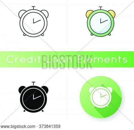 Alarm Clock Icon. Retro Mechanical Watch. Countdown To Deadline. Office Clock. Analog Timepiece. Tim