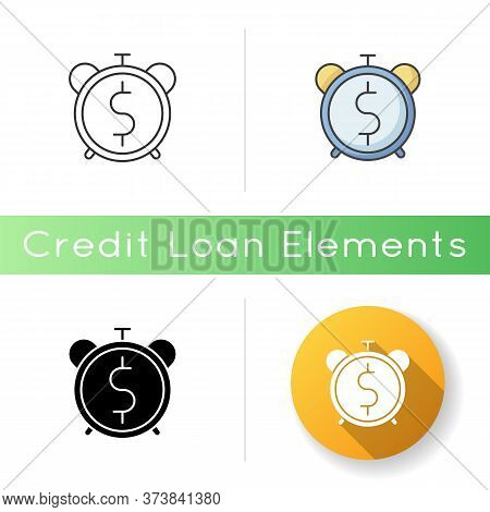 Countdown To Payout Icon. Alarm Clock With Dollar Sign. Future Fund. Money Viability. Financial Asse