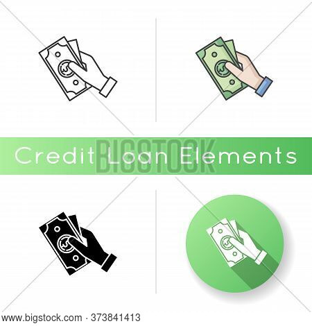 Hand Hold Money Icon. Cash For Client. Business Revenue. Employee Salary. Bank Benefit. Arm With Pay