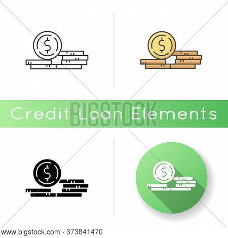 Stack Of Coins Icon. Fortune And Wealth. Growth In Wage. Revenue From Business. Financial Success. P