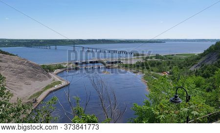 View Of The Ile D'orleans Bridge From Montmorency Falls