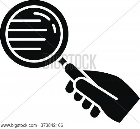 Magnify Glass Black Glyph Icon. Hand With Lens. Close Inspection. Search For Information. Freelance