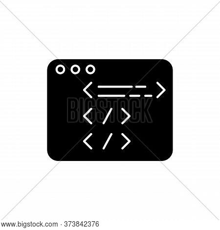 Website Development Black Glyph Icon. Open Source Code. Html Programming. Javascript Edit. Work With