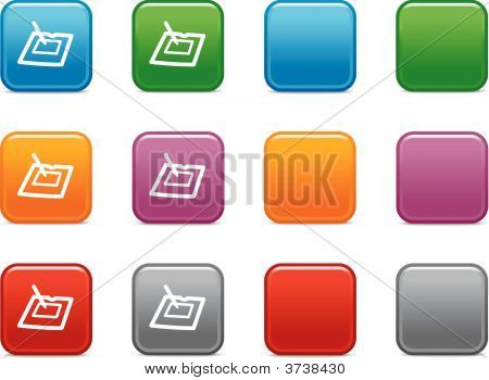 Vector web icons color square buttons series poster