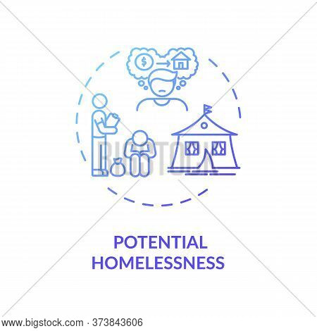 Potential Homelessness Blue Gradient Concept Icon. Unemployment Problem. Crisis In Economy. Jobless