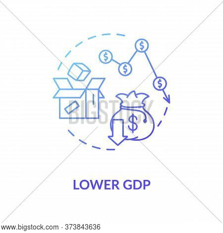 Lower Gdp Blue Gradient Concept Icon. Negative Unemployment Outcome. Financial Loss. Decrease In Eco