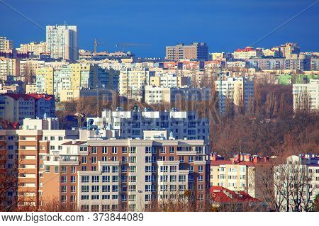 Residential District With Modern Buildings . Buiucani District Of Chisinau City In Moldova
