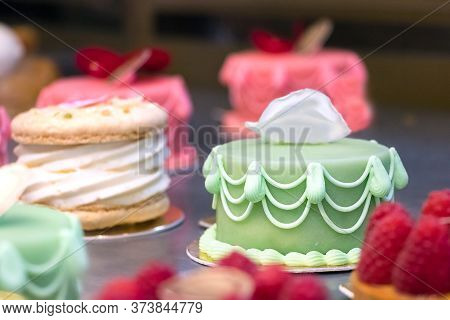 Close Up Of A Green Small Cake Covered With Marzipan, Shallow Dof.