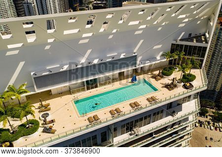 Aerial Photo Highrise Tower Rooftop Pool Miami