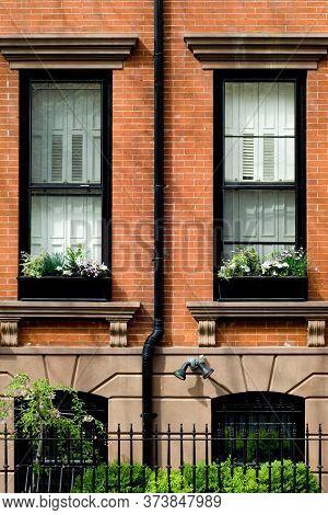 Typical Brownstone In Brooklyn Heights Neighborhood In Spring, Nyc
