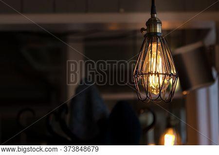 One Vintage Led Filament Light Bulbs Hanging, Indoors.