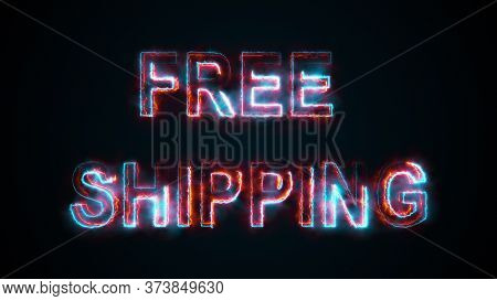 Computer Generated The Text Free Shipping. Burning Words Consists Of Capital Letters. 3d Rendering O