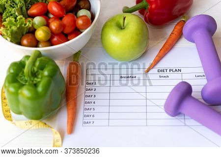 Diet Health Plan. Workout Planing. Sport Exercise Equipment Workout Andgym Background With Nutritio