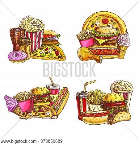 Takeaway Fast Food Sketch. Vector Fastfood Pizza Slice, Hot Dog And Mexican Tacos, Cheeseburger, Fre
