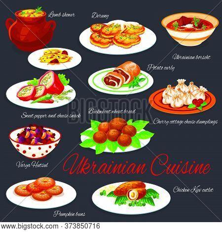 Ukrainian National Cuisine Dishes Restaurant Menu Vector Set. Borscht And Deruny, Buckwheat Bread, V