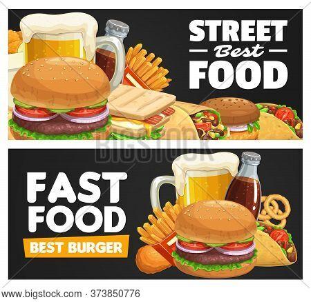 Fast Food Meals And Snacks Vector Banner. Beer Tankard, Beef And Turkey Hamburger, Sandwich, Burrito