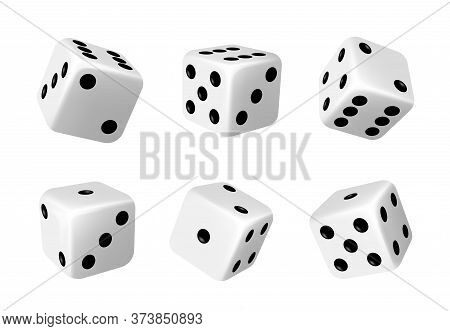 White Dices With Black Dots Set. Pipped Dices With Rounded Corners. Die For Casino Craps, Table Or B
