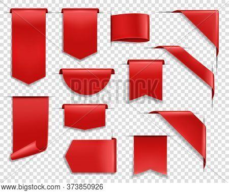 Red Ribbons, Labes And Tags, Banners And Bookmark Realistic Vector Set. Glossy Silky Ribbon, Various