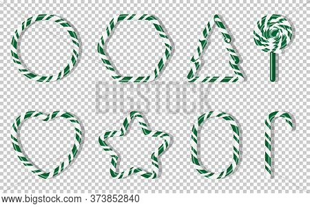 Christmas Candies With Different Shape Spiral Pattern Set. Green Treat Holiday Winter. Sweet Sugar C