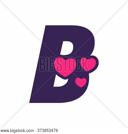 Simple And Cute Illustration Logo Design Initial B Love.