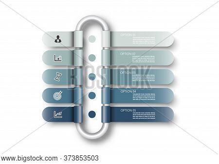 Vector Infographic Template With 3d Paper Label, Integrated Circles. Business Concept With 5 Options