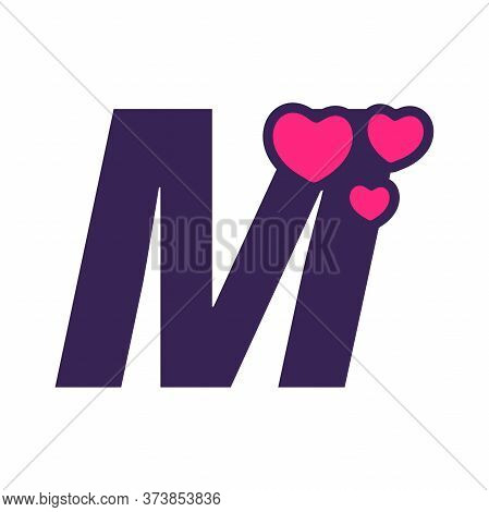 Simple And Cute Illustration Logo Design Initial M Love.