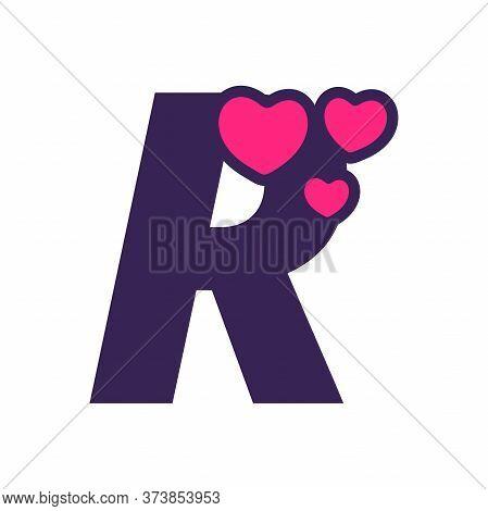 Simple And Cute Illustration Logo Design Initial R Love.