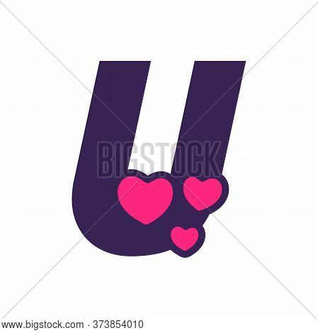 Simple And Cute Illustration Logo Design Initial U Love.