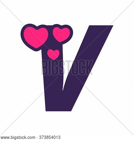 Simple And Cute Illustration Logo Design Initial V Love.